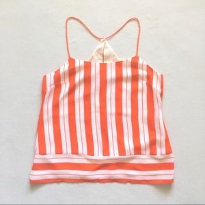 Banana Republic Orange Striped Box T Strap Cami 6